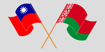 Crossed and waving flags of Belarus and Taiwan 向量圖像