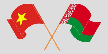 Crossed and waving flags of Belarus and Vietnam