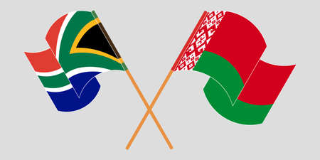 Crossed and waving flags of Belarus and Republic of South Africa