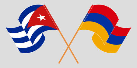 Crossed and waving flags of Cuba and Armenia