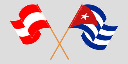 Crossed and waving flags of Cuba and Austria 向量圖像