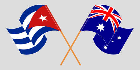 Crossed and waving flags of Cuba and Australia 向量圖像