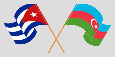 Crossed and waving flags of Cuba and Azerbaijan