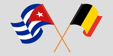 Crossed and waving flags of Cuba and Belgium 向量圖像