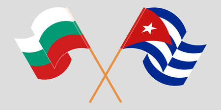 Crossed and waving flags of Cuba and Bulgaria 向量圖像