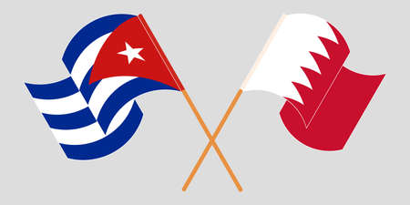Crossed and waving flags of Cuba and Bahrain