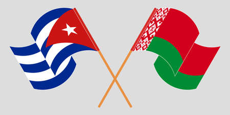 Crossed and waving flags of Cuba and Belarus