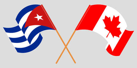 Crossed and waving flags of Cuba and Canada