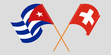 Crossed and waving flags of Cuba and Switzerland