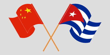 Crossed and waving flags of Cuba and China