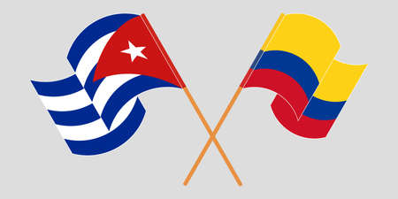 Crossed and waving flags of Cuba and Colombia 向量圖像