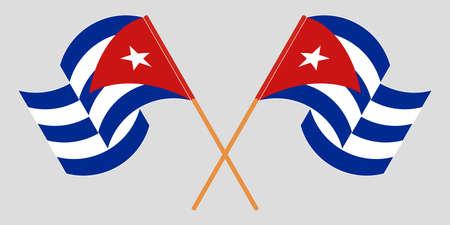 Crossed and waving flags of Cuba 向量圖像