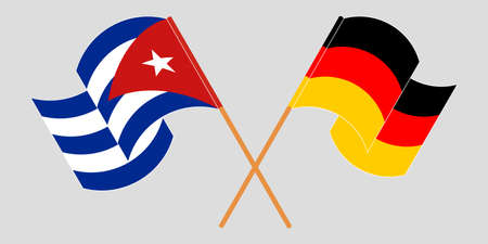 Crossed and waving flags of Cuba and Germany 向量圖像