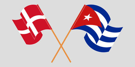 Crossed and waving flags of Cuba and Denmark 向量圖像