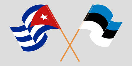 Crossed and waving flags of Cuba and Estonia