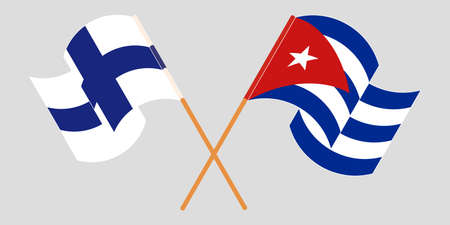 Crossed and waving flags of Cuba and Finland