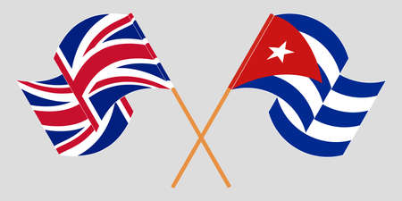 Crossed and waving flags of Cuba and the UK 向量圖像