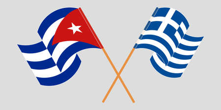 Crossed and waving flags of Cuba and Greece