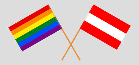 Crossed flags of LGBT and Austria