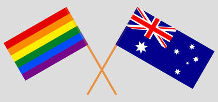 Crossed flags of LGBT and Australia  イラスト・ベクター素材