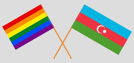 Crossed flags of LGBT and Azerbaijan  イラスト・ベクター素材