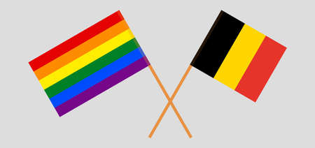 Crossed flags of LGBT and Belgium