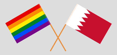 Crossed flags of LGBT and Bahrain