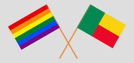 Crossed flags of LGBT and Benin  イラスト・ベクター素材