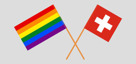 Crossed flags of LGBT and Switzerland