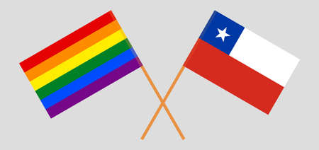 Crossed flags of LGBT and Chile