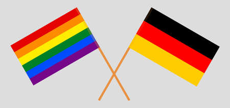 Crossed flags of LGBT and Germany