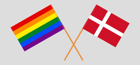 Crossed flags of LGBT and Denmark