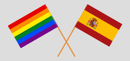 Crossed flags of LGBT and Spain  イラスト・ベクター素材