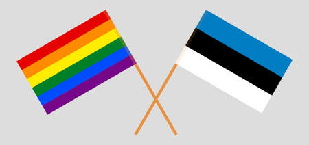 Crossed flags of LGBT and Estonia