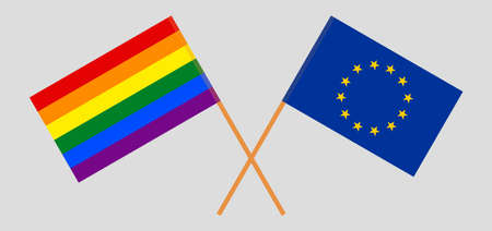 Crossed flags of LGBT and the EU