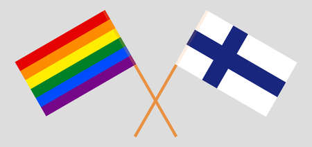 Crossed flags of LGBT and Finland