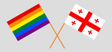 Crossed flags of LGBT and Georgia  イラスト・ベクター素材