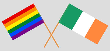 Crossed flags of LGBT and Ireland