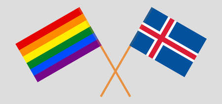 Crossed flags of LGBT and Iceland  イラスト・ベクター素材