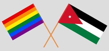 Crossed flags of LGBT and Jordan