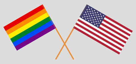 Crossed flags of the USA and LGBT