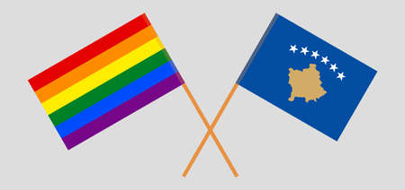 Crossed flags of LGBT and Kosovo  イラスト・ベクター素材