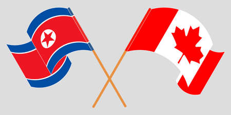 Crossed and waving flags of North Korea and Canada  イラスト・ベクター素材