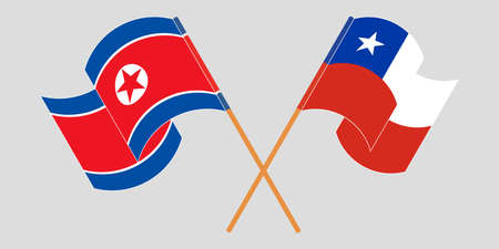 Crossed and waving flags of North Korea and Chile  イラスト・ベクター素材