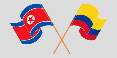 Crossed and waving flags of North Korea and Colombia  イラスト・ベクター素材