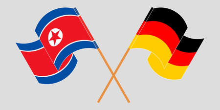 Crossed and waving flags of North Korea and Germany  イラスト・ベクター素材