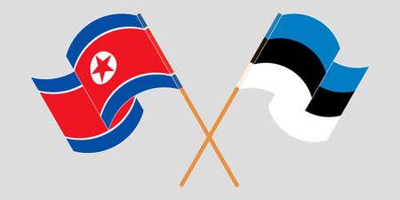 Crossed and waving flags of North Korea and Estonia  イラスト・ベクター素材