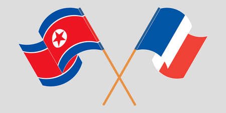 Crossed and waving flags of North Korea and France
