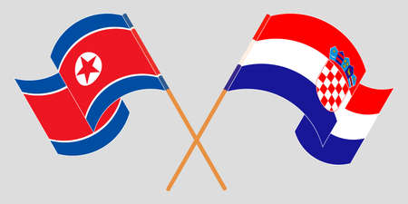 Crossed and waving flags of North Korea and Croatia