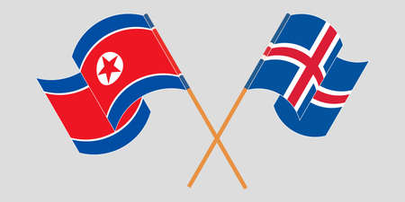 Crossed and waving flags of North Korea and Iceland  イラスト・ベクター素材